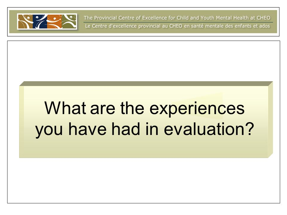 What are the experiences you have had in evaluation