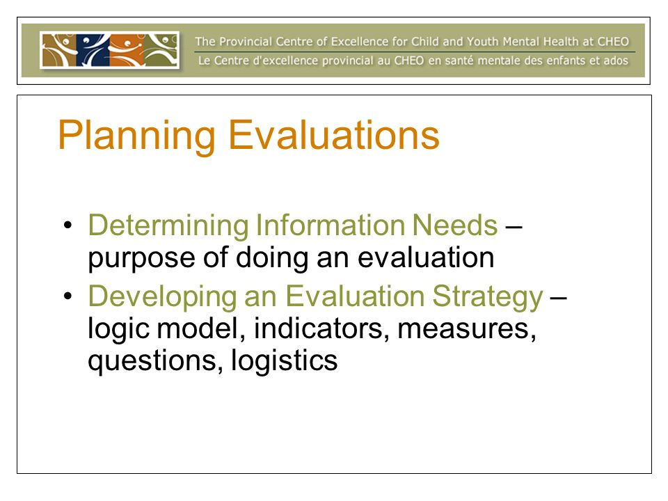 Planning Evaluations Determining Information Needs – purpose of doing an evaluation Developing an Evaluation Strategy – logic model, indicators, measures, questions, logistics