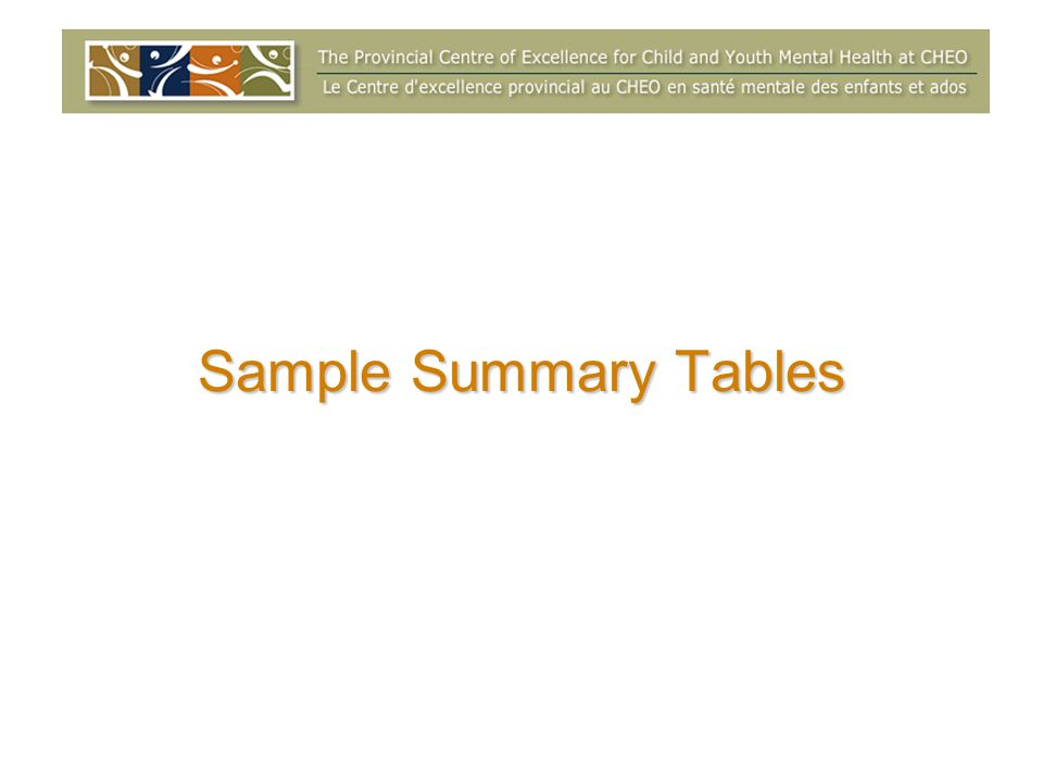 Sample Summary Tables