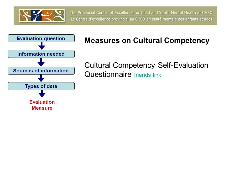 Evaluation question Information needed Sources of information Types of data Evaluation Measure Measures on Cultural Competency Cultural Competency Self-Evaluation Questionnaire friends link friends link