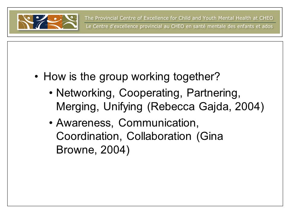 How is the group working together.