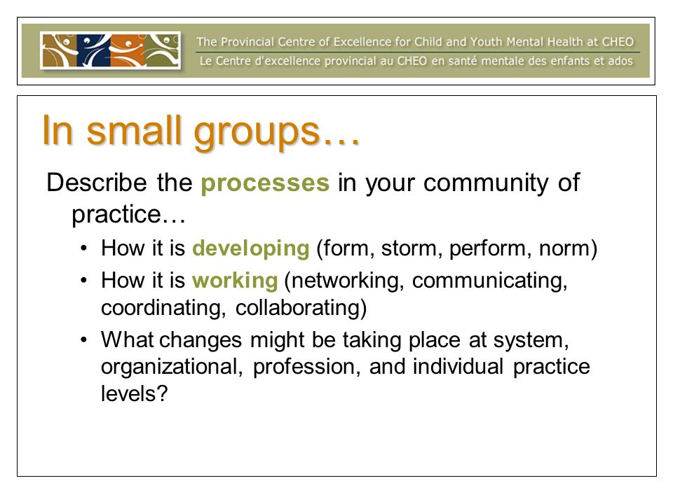 In small groups… Describe the processes in your community of practice… How it is developing (form, storm, perform, norm) How it is working (networking, communicating, coordinating, collaborating) What changes might be taking place at system, organizational, profession, and individual practice levels