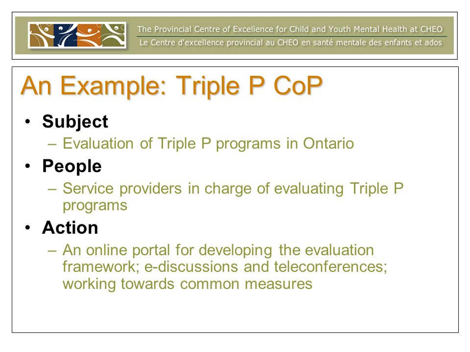 An Example: Triple P CoP Subject –Evaluation of Triple P programs in Ontario People –Service providers in charge of evaluating Triple P programs Action –An online portal for developing the evaluation framework; e-discussions and teleconferences; working towards common measures
