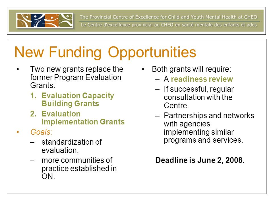 New Funding Opportunities Two new grants replace the former Program Evaluation Grants: 1.Evaluation Capacity Building Grants 2.Evaluation Implementation Grants Goals: –standardization of evaluation.