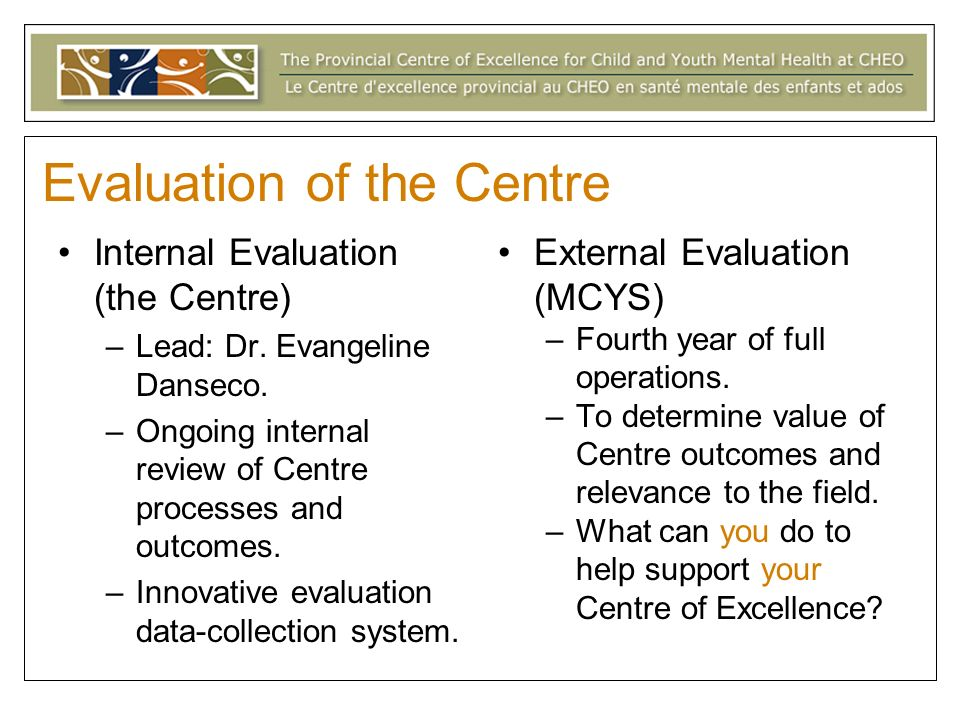 Evaluation of the Centre Internal Evaluation (the Centre) –Lead: Dr.