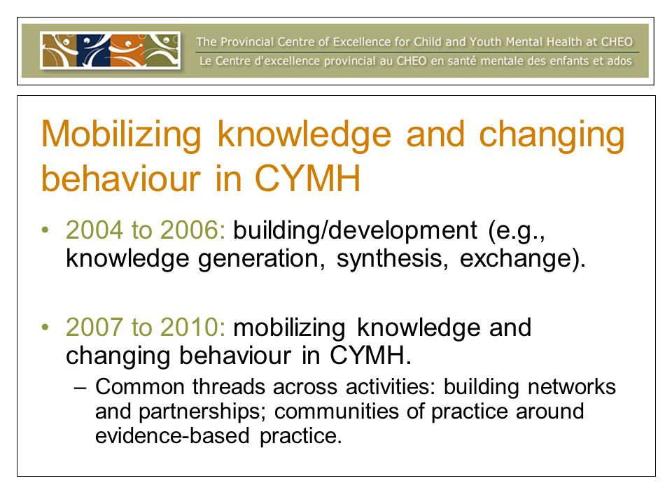 Mobilizing knowledge and changing behaviour in CYMH 2004 to 2006: building/development (e.g., knowledge generation, synthesis, exchange).