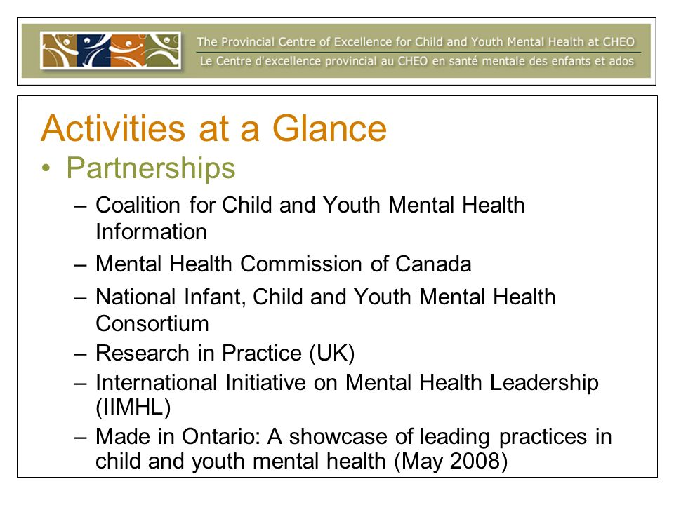 Activities at a Glance Partnerships –Coalition for Child and Youth Mental Health Information –Mental Health Commission of Canada –National Infant, Child and Youth Mental Health Consortium –Research in Practice (UK) –International Initiative on Mental Health Leadership (IIMHL) –Made in Ontario: A showcase of leading practices in child and youth mental health (May 2008)