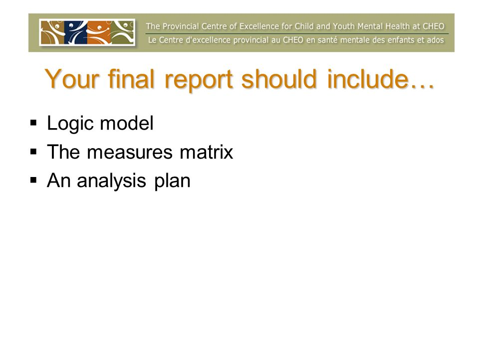 Your final report should include… Logic model The measures matrix An analysis plan
