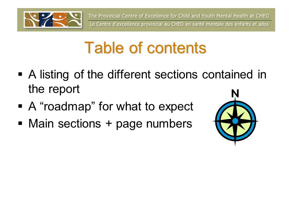Table of contents A listing of the different sections contained in the report A roadmap for what to expect Main sections + page numbers