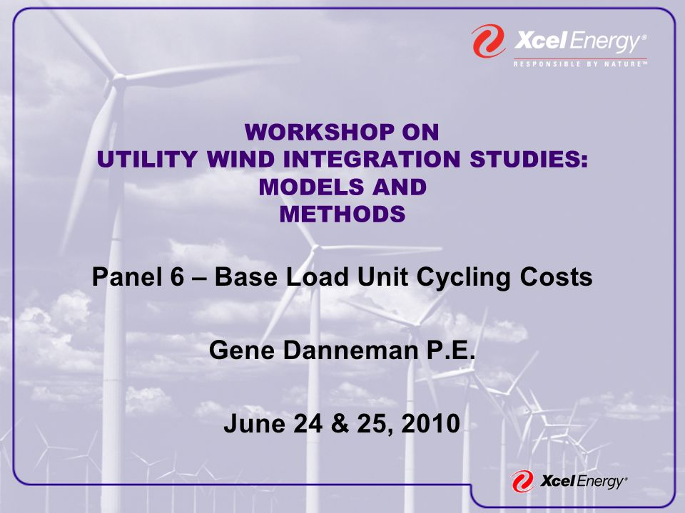 WORKSHOP ON UTILITY WIND INTEGRATION STUDIES: MODELS AND METHODS Panel 6 – Base Load Unit Cycling Costs Gene Danneman P.E.