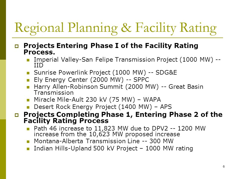 6 Regional Planning & Facility Rating Projects Entering Phase I of the Facility Rating Process.
