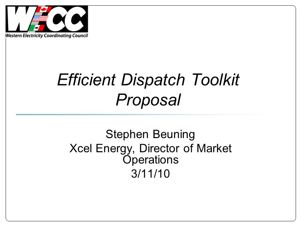 Efficient Dispatch Toolkit Proposal Stephen Beuning Xcel Energy, Director of Market Operations 3/11/10