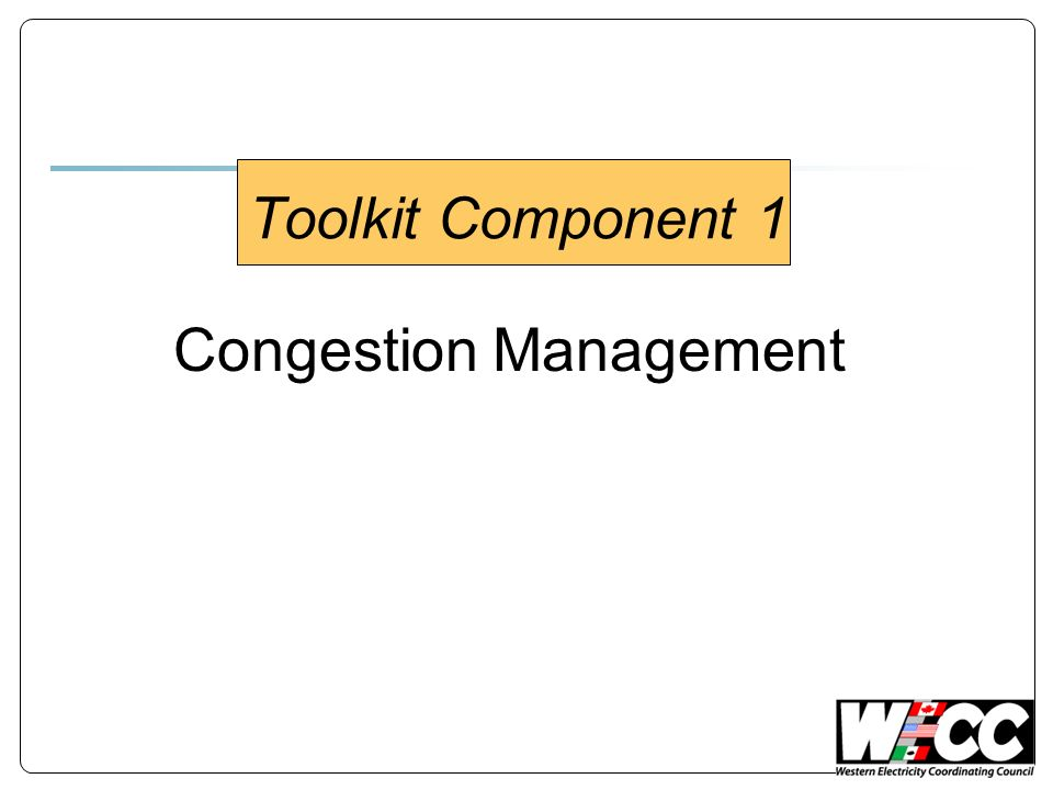 Toolkit Component 1 Congestion Management