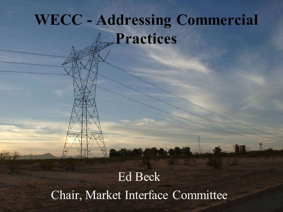 WECC - Addressing Commercial Practices Ed Beck Chair, Market Interface Committee