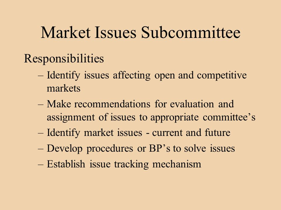 Market Issues Subcommittee Responsibilities –Identify issues affecting open and competitive markets –Make recommendations for evaluation and assignment of issues to appropriate committees –Identify market issues - current and future –Develop procedures or BPs to solve issues –Establish issue tracking mechanism
