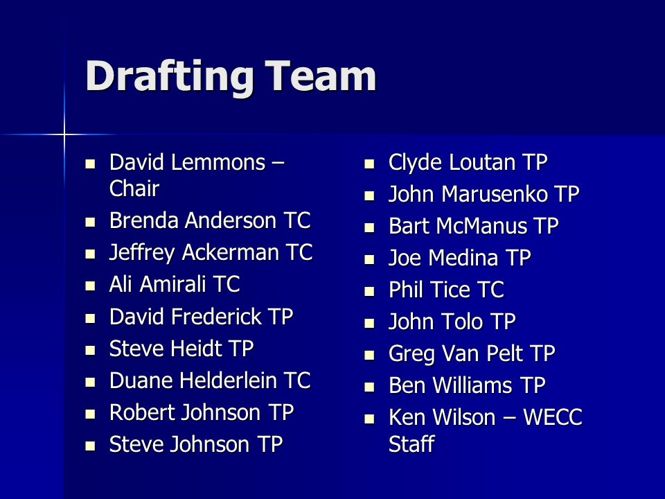 Drafting Team David Lemmons – Chair David Lemmons – Chair Brenda Anderson TC Brenda Anderson TC Jeffrey Ackerman TC Jeffrey Ackerman TC Ali Amirali TC Ali Amirali TC David Frederick TP David Frederick TP Steve Heidt TP Steve Heidt TP Duane Helderlein TC Duane Helderlein TC Robert Johnson TP Robert Johnson TP Steve Johnson TP Steve Johnson TP Clyde Loutan TP Clyde Loutan TP John Marusenko TP John Marusenko TP Bart McManus TP Bart McManus TP Joe Medina TP Joe Medina TP Phil Tice TC Phil Tice TC John Tolo TP John Tolo TP Greg Van Pelt TP Greg Van Pelt TP Ben Williams TP Ben Williams TP Ken Wilson – WECC Staff Ken Wilson – WECC Staff