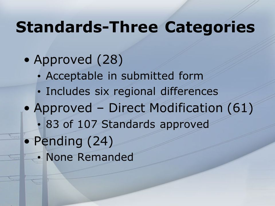 Standards-Three Categories Approved (28) Acceptable in submitted form Includes six regional differences Approved – Direct Modification (61) 83 of 107 Standards approved Pending (24) None Remanded