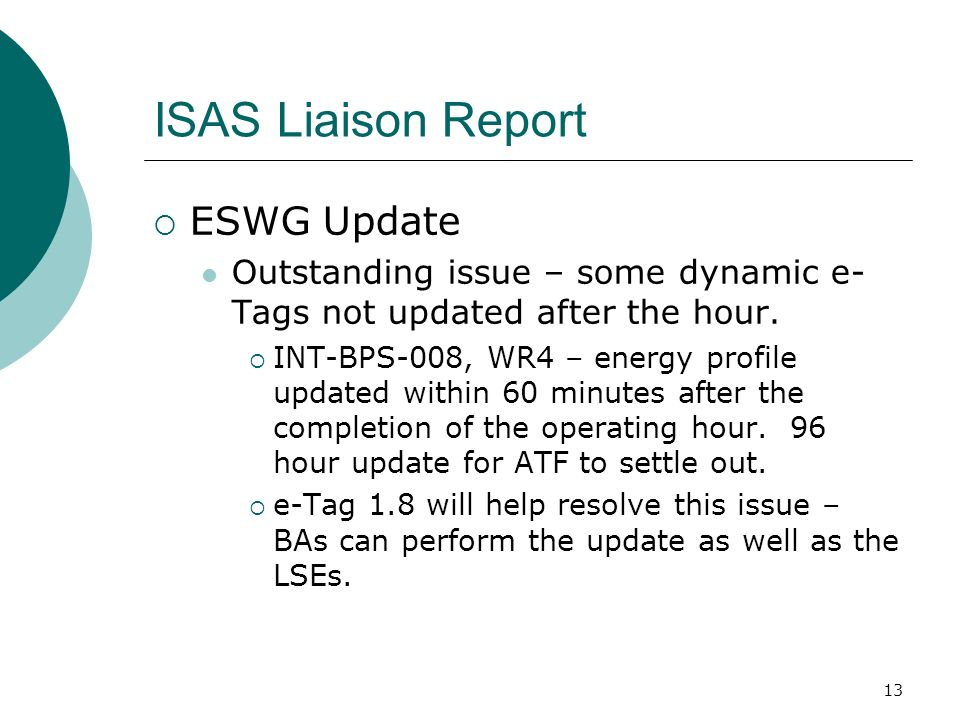 13 ISAS Liaison Report ESWG Update Outstanding issue – some dynamic e- Tags not updated after the hour.
