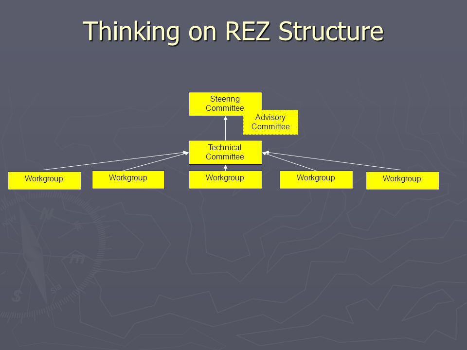 Thinking on REZ Structure Steering Committee Advisory Committee Technical Committee Workgroup