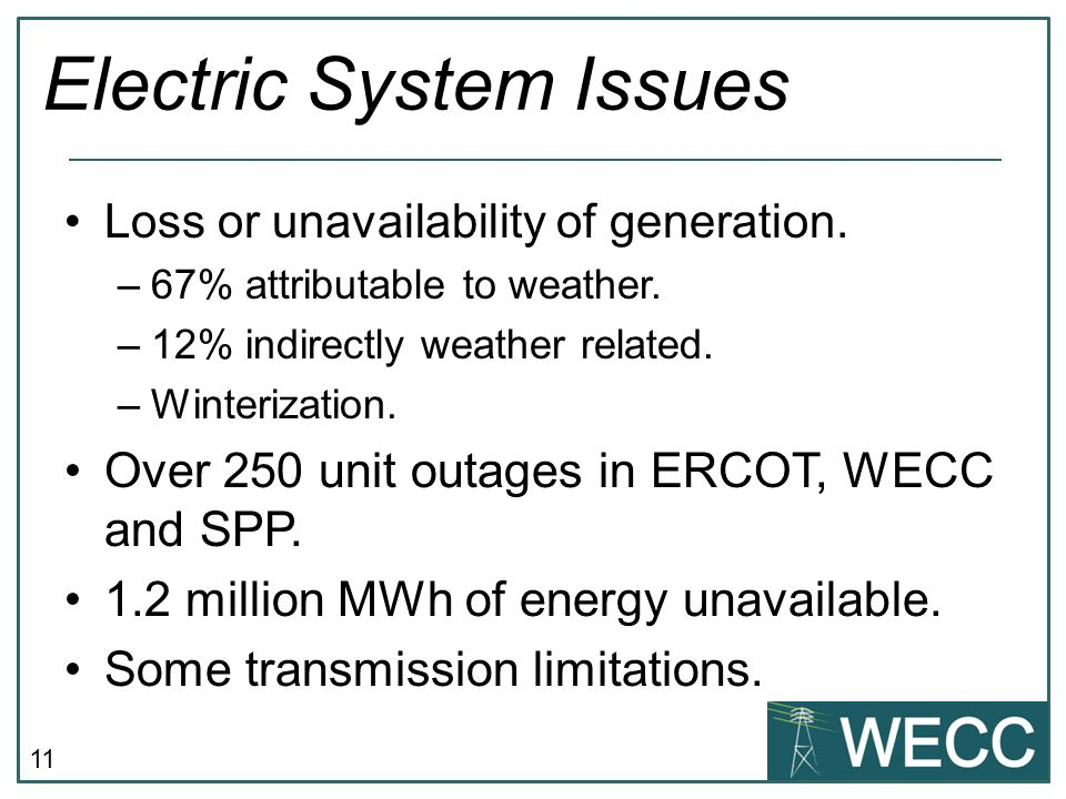 11 Electric System Issues Loss or unavailability of generation.