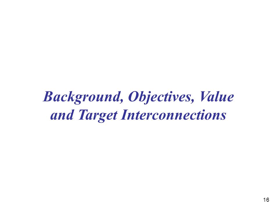 16 Background, Objectives, Value and Target Interconnections