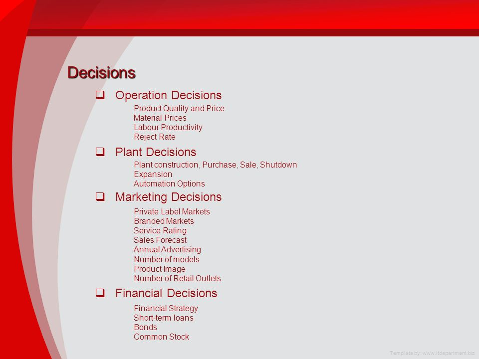 Decisions Operation Decisions Plant Decisions Marketing Decisions Financial Decisions Product Quality and Price Material Prices Labour Productivity Reject Rate Plant construction, Purchase, Sale, Shutdown Expansion Automation Options Private Label Markets Branded Markets Service Rating Sales Forecast Annual Advertising Number of models Product Image Number of Retail Outlets Financial Strategy Short-term loans Bonds Common Stock Template by: www.itdepartment.biz
