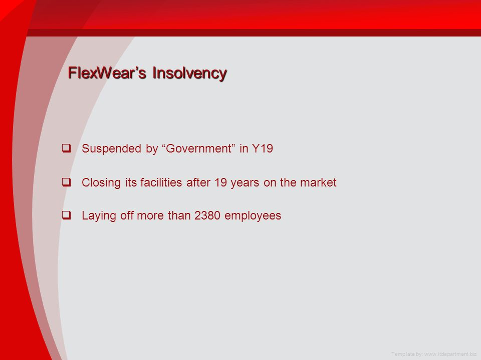 FlexWears Insolvency Suspended by Government in Y19 Closing its facilities after 19 years on the market Laying off more than 2380 employees Template by: www.itdepartment.biz