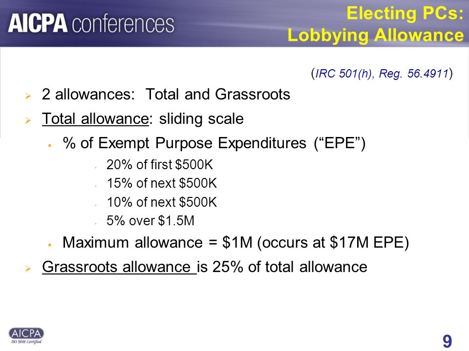 9 Electing PCs: Lobbying Allowance ( IRC 501(h), Reg.