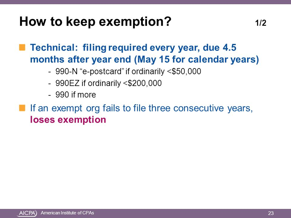 American Institute of CPAs How to keep exemption.