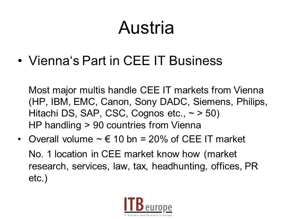 Austria Viennas Part in CEE IT Business Most major multis handle CEE IT markets from Vienna (HP, IBM, EMC, Canon, Sony DADC, Siemens, Philips, Hitachi DS, SAP, CSC, Cognos etc., ~ > 50) HP handling > 90 countries from Vienna Overall volume ~ 10 bn = 20% of CEE IT market No.