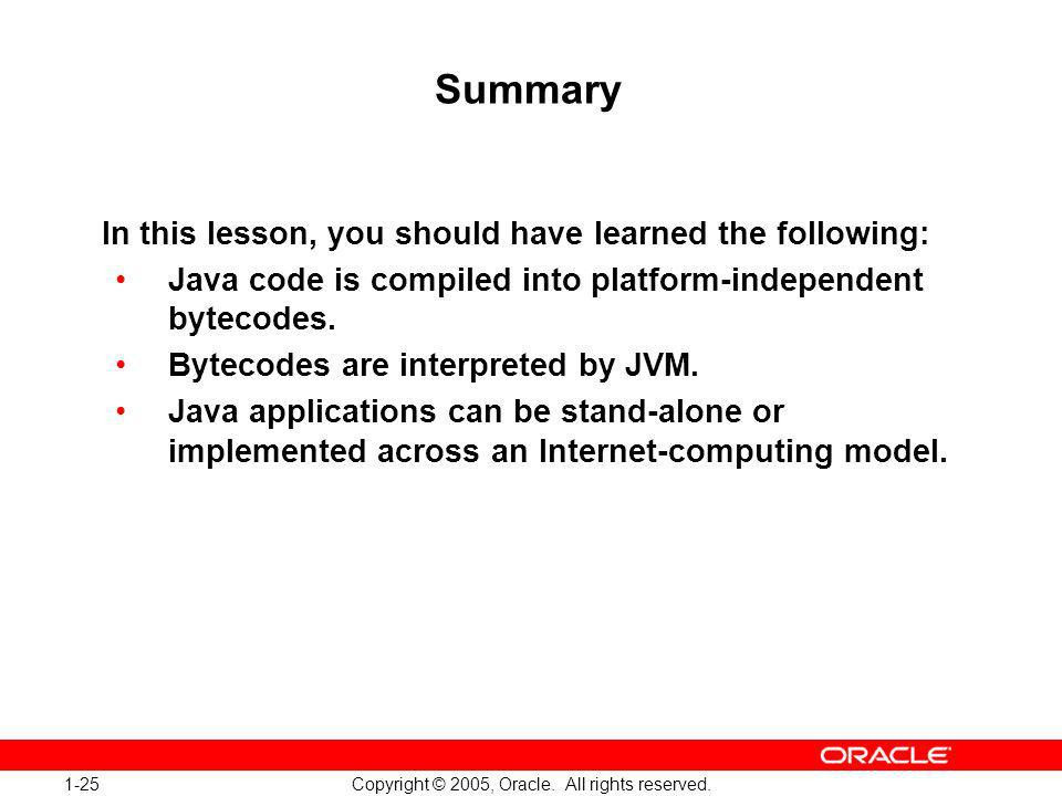 1-25 Copyright © 2005, Oracle. All rights reserved.