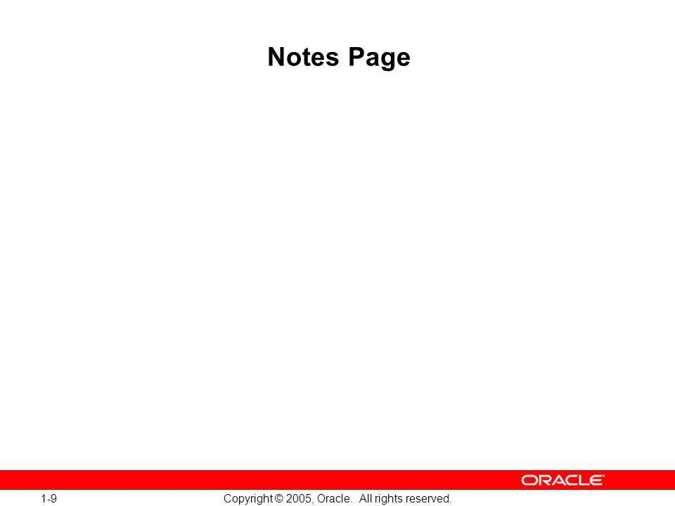 1-9 Copyright © 2005, Oracle. All rights reserved. Notes Page