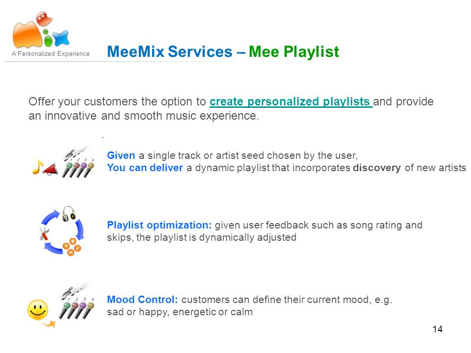 14 Offer your customers the option to create personalized playlists and provide an innovative and smooth music experience.create personalized playlists A Personalized Experience MeeMix Services – Mee Playlist Given a single track or artist seed chosen by the user, You can deliver a dynamic playlist that incorporates discovery of new artists Playlist optimization: given user feedback such as song rating and skips, the playlist is dynamically adjusted Mood Control: customers can define their current mood, e.g.