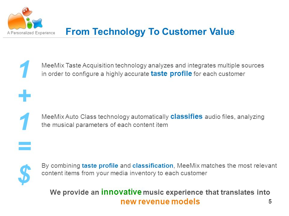 5 MeeMix Taste Acquisition technology analyzes and integrates multiple sources in order to configure a highly accurate taste profile for each customer MeeMix Auto Class technology automatically classifies audio files, analyzing the musical parameters of each content item 1 1 + = $ A Personalized Experience From Technology To Customer Value By combining taste profile and classification, MeeMix matches the most relevant content items from your media inventory to each customer We provide an innovative music experience that translates into new revenue models