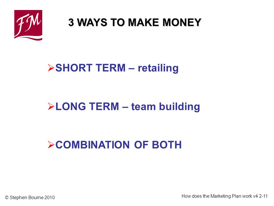 © Stephen Bourne 2010 How does the Marketing Plan work v SHORT TERM – retailing LONG TERM – team building COMBINATION OF BOTH 3 WAYS TO MAKE MONEY