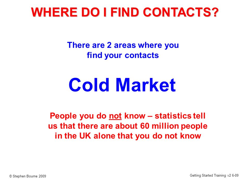 Getting Started Training v2 6-09 © Stephen Bourne 2009 Cold Market People you do not know – statistics tell us that there are about 60 million people in the UK alone that you do not know WHERE DO I FIND CONTACTS.