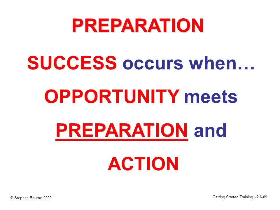 Getting Started Training v2 6-09 © Stephen Bourne 2009 PREPARATION SUCCESS occurs when… OPPORTUNITY meets PREPARATION and ACTION