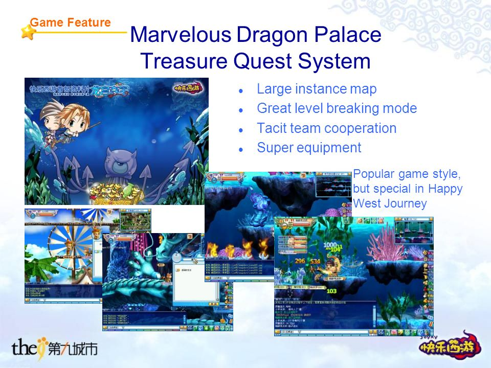 Marvelous Dragon Palace Treasure Quest System Large instance map Great level breaking mode Tacit team cooperation Super equipment Game Feature Popular game style, but special in Happy West Journey