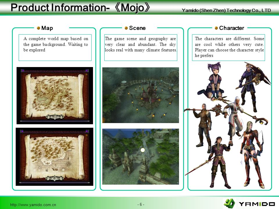 - 6 - http://www.yamido.com.cn Yamido (Shen Zhen) Technology Co., LTD Product Information- Mojo Product Information- Mojo Map A complete world map based on the game background.