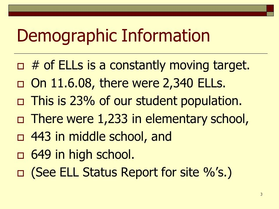 3 Demographic Information # of ELLs is a constantly moving target.