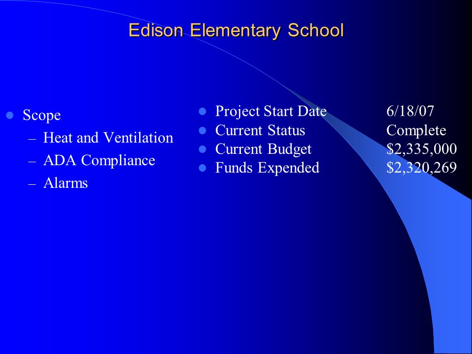 Edison Elementary School Scope – Heat and Ventilation – ADA Compliance – Alarms Project Start Date6/18/07 Current StatusComplete Current Budget$2,335,000 Funds Expended $2,320,269