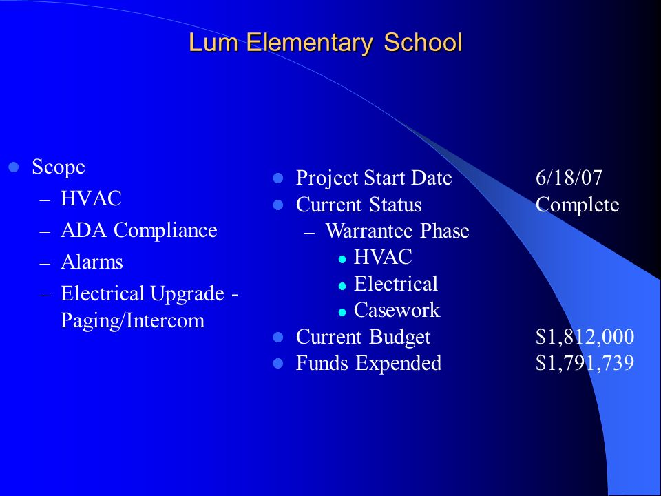 Lum Elementary School Scope – HVAC – ADA Compliance – Alarms – Electrical Upgrade - Paging/Intercom Project Start Date6/18/07 Current StatusComplete – Warrantee Phase HVAC Electrical Casework Current Budget$1,812,000 Funds Expended $1,791,739