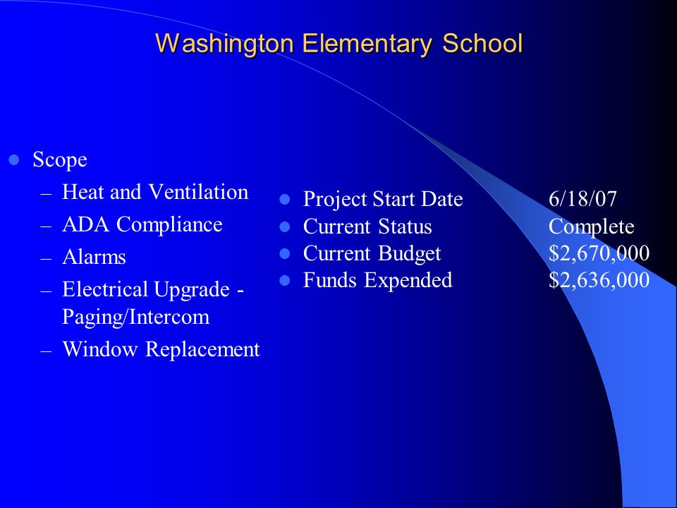 Washington Elementary School Scope – Heat and Ventilation – ADA Compliance – Alarms – Electrical Upgrade - Paging/Intercom – Window Replacement Project Start Date6/18/07 Current StatusComplete Current Budget$2,670,000 Funds Expended $2,636,000