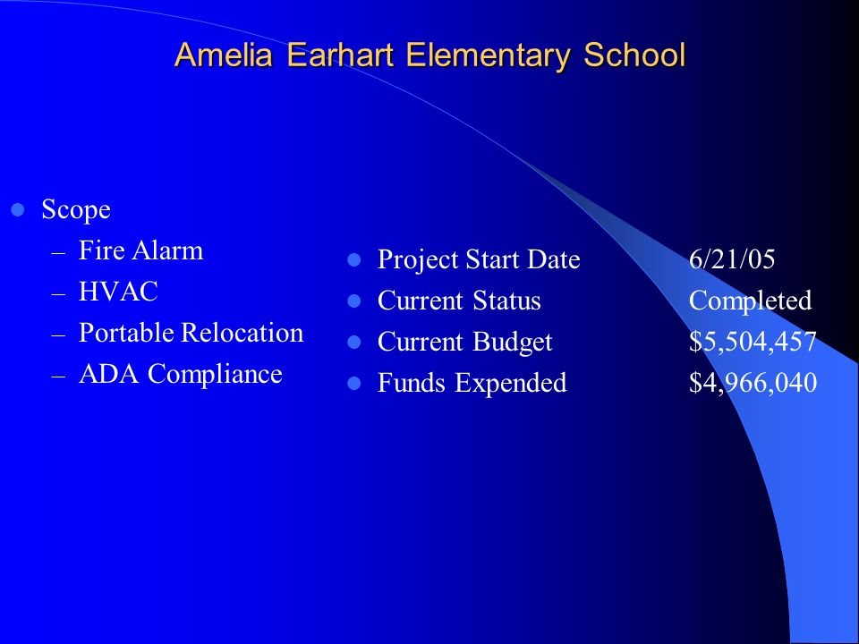 Amelia Earhart Elementary School Scope – Fire Alarm – HVAC – Portable Relocation – ADA Compliance Project Start Date 6/21/05 Current StatusCompleted Current Budget$5,504,457 Funds Expended$4,966,040
