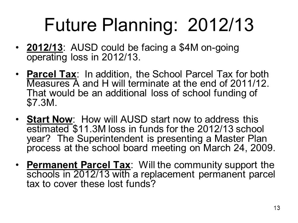 13 Future Planning: 2012/13 2012/13: AUSD could be facing a $4M on-going operating loss in 2012/13.