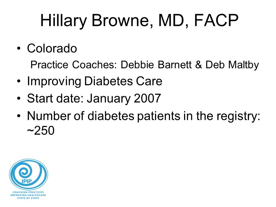 Hillary Browne, MD, FACP Colorado Practice Coaches: Debbie Barnett & Deb Maltby Improving Diabetes Care Start date: January 2007 Number of diabetes patients in the registry: ~250
