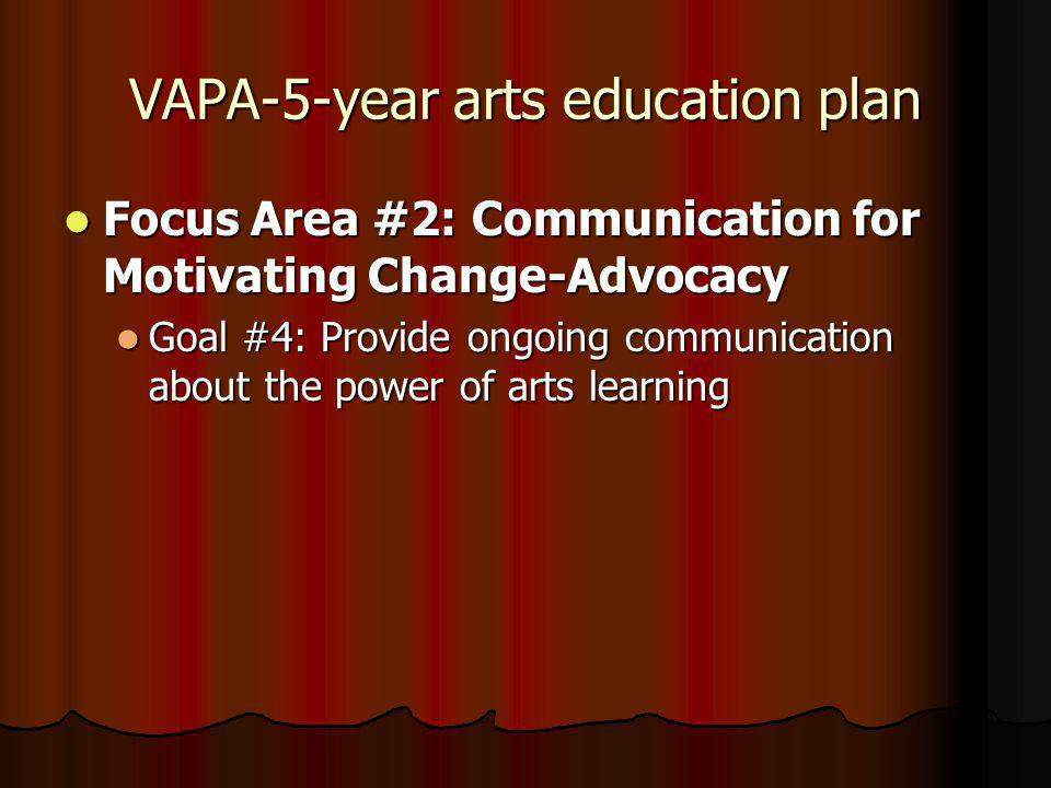 VAPA-5-year arts education plan Focus Area #2: Communication for Motivating Change-Advocacy Focus Area #2: Communication for Motivating Change-Advocacy Goal #4: Provide ongoing communication about the power of arts learning Goal #4: Provide ongoing communication about the power of arts learning