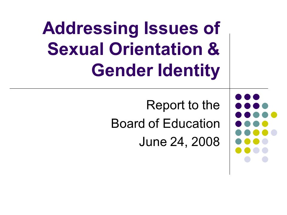 Addressing Issues of Sexual Orientation & Gender Identity Report to the Board of Education June 24, 2008