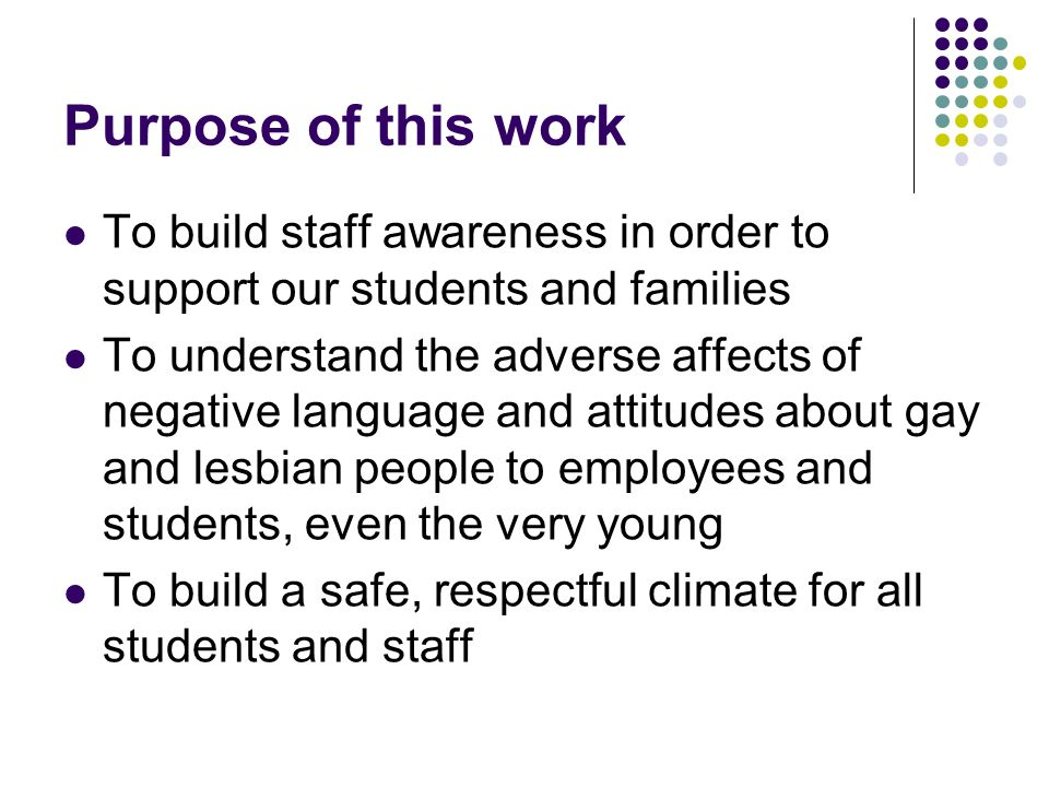 Purpose of this work To build staff awareness in order to support our students and families To understand the adverse affects of negative language and attitudes about gay and lesbian people to employees and students, even the very young To build a safe, respectful climate for all students and staff