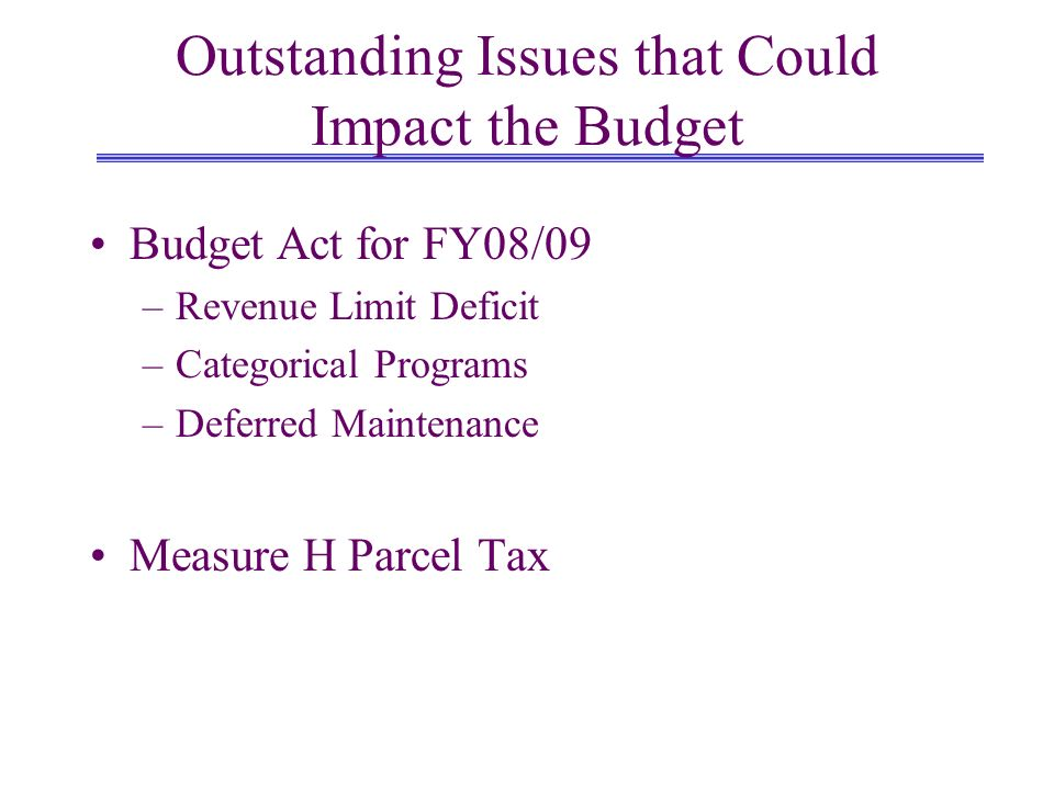 Outstanding Issues that Could Impact the Budget Budget Act for FY08/09 –Revenue Limit Deficit –Categorical Programs –Deferred Maintenance Measure H Parcel Tax